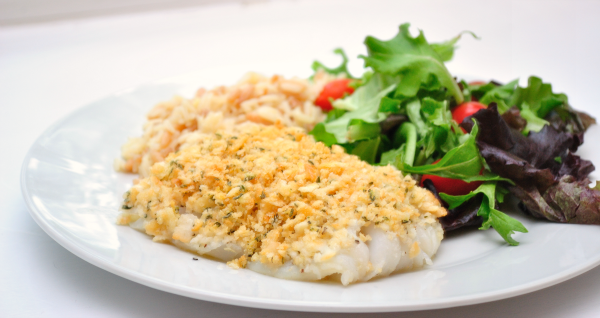 Buttercrumb cod: cod baked with a Ritz cracker crust